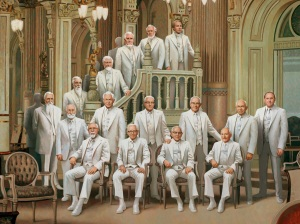 lds prophets in white together. doc-christensen-portrait-of-the-prophets-celestial
