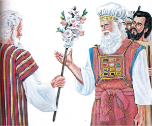 Moses delivers rod to Aaron